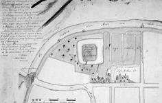 RISCH-40-1 Kopie van een plattegrond van de bleekvelden, de boomgaard en het perceel grond waar het slot Bulgerstein ...