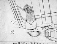 RISCH-99 Reconstructie van een plattegrond waarop is afgebeeld het Hof van Weena en een gedeelte van de Hofdijk anno 1426.