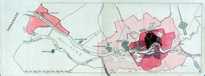 VI-176-01 Kaart van de waterweg van Rotterdam naar zee met veranderende grenzen van de gemeente Rotterdam