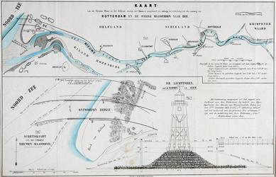 VI-26 Kaart van de Nieuwe Maas en het Scheur waarop het ontwerp voor de verbetering van de vaarweg van Rotterdam naar ...