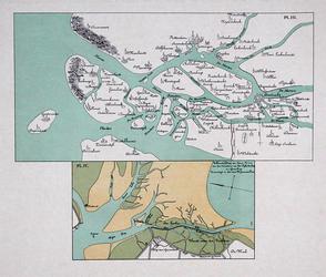 VI-3 Kopieën van een kaart van de Zuid-Hollandse eilanden voor de overstroming van 1421 en een kaart van de slikken ten ...