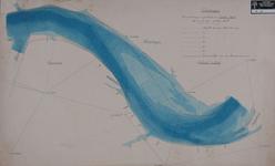 VI-42 Hydrografische kaart van de Nieuwe Maas van de Slijkplaat tot de Koningshaven, met aanduiding van de waterdiepten ...