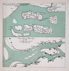VI-5 Verkleinde kopieën (1/4) van een kaart van de Zuid-Hollandse eilanden in de 15de eeuw en van een kaart van de ...