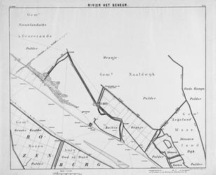 VI-56-9 Kaart van de Nieuwe Maas en het scheur van Rotterdam tot de gensscheiding der gemeenten 's Gravenzande en ...