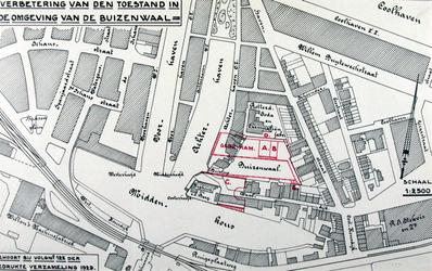 VII-161 Plankaart voor verbeteringen in het gebied rond de Buizenwaal.