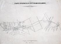 XVII-1 Kaart met het tracé van de geplande staatsspoorweglijn Rotterdam - IJsselmonde. In dit plan kruist de spoorlijn ...