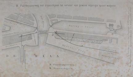 XVII-21-01 Plankaart van een paardenspoorweg tussen het Maasstation en Rotterdam-Zuid