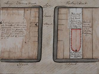 XVIII-384 Plattegrond van twee huizenblokken grenzend aan de Sint-Jacobstraat, waarop de plaats van de voormalige ...