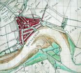 XXX-15 Kaart van Rotterdam en omstreken en de Nieuwe Maas met weergave van de aanwassen aan beide zijden van de rivier