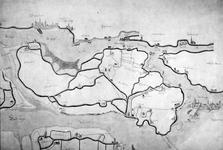 XXX-1A Kaart van het oostelijke deel van het eiland IJsselmonde, met stadsgezichten van Rotterdam en Dordrecht ...