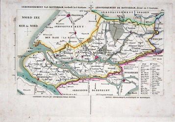 XXX-33 Kaart van het arrondissement Rotterdam, verdeeld in 9 kantons.