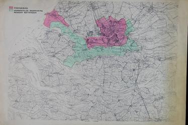 XXX-55-00-02 Kaart van Rotterdam en omgeving waarop [met rood] het stadsgebied is aangegeven en [met groen] de ...