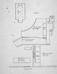 XXXI-148-03 Plattegrond van het schoolhuis en omgeving tussen de Bergweg (thans Straatweg) en de Kerkstraat te Hillegersberg
