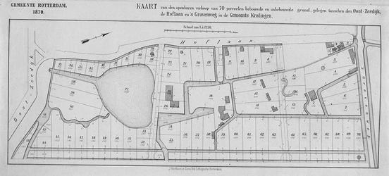 XXXI-274 Kaart van 70 te verkopen grondpercelen gelegen tussen de Oostzeedijk, de Hoflaan en de 's-Gravenweg