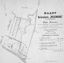 XXXI-279 Kaart van de buitenplaats Rozenburg c.a. en van de villa Devonia, gelegen aan de Oudedijk