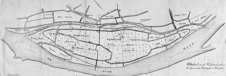 XXXI-534-00-01 Kaart van grondpercelen in de gemeenten Hoogvliet en Poortugaal