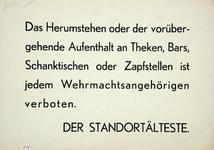 2001-1109 Verbod van de bestuurder van het garnizoen aan leden van de Wehrmacht om zich op te houden in of in de ...