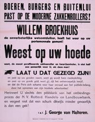 2002-1269 Aankondiging van een waarschuwing tegen de zaken van Willem Broekhuijs, ondertekend door J. George van Halteren.