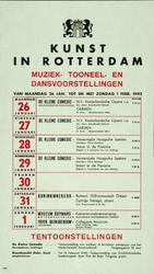 2002-1402 Aankondiging programma Kunst In Rotterdam, muziek-, toneel- en dansvoostellingen en tentoonstellingen.