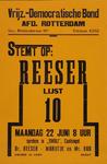 2002-1417 Verkiezingsaffiche van de Vrijzinnig-Democratische Bond, aankondiging debat door Dr. Reeser, Marijtje en Mr. ...