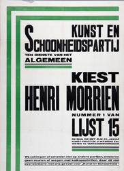 2002-1427 Verkiezingsaffiche van de Kunst en Schoonheidspartij.Kiest Henri Morrien.