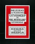 2002-1448 Reclame voor uitverkoop bij kledingwarenhuis Nederland van Kattenburg & Co.
