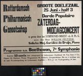 2002-1531 Aankondiging van een zaterdagmiddagconcert door het Rotterdamsch Philharmonisch Genootschap in de Groote Doelezaal.