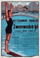 2002-1532 Aankondiging van Zwemwedstrijd in de Schie, door de Rotterdamsche Zwemclub.