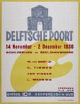 2002-1539 Aankondiging tentoonstelling Schilderijen en Beeldhouwwerk van W. van Dort jr., C. Timmer, Jan Visser en L. ...