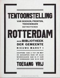 2002-1540 Aankondiging van een tentoonstelling van boeken, prenten en tekeningen betreffende Rotterdam in de ...