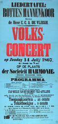 2004-635 Aankondiging van een concert door het Rotte's Mannenkoor op de binnenplaats van Sociëteit Harmonie.