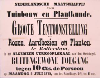 G-0000-0419 Nederlandsche Maatschappij voor Tuinbouw en plantkunde. Groote tentoonstelling rozen, aardbeziën en planten ...