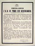 G-0000-0571 Overlijden z.k.h. de prins der Nederlanden (...) Rotterdam, 4 juli 1934, De burgemeester voornoemd, Fortuyn.