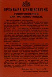 IA-1939-0002 Openbare kennisgeving van de Burgemeester. Voorvordering van Motorrijtuigen. 24 Augustus 1939.