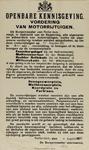 IA-1939-0003 Openbare kennisgeving van de Burgemeester. Vordering van Motorrijtuigen.