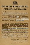 IA-1939-0004 Openbare kennisgeving van de Burgemeester. Vordering van Paarden. 28 Augustus 1939.