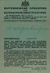 IA-1939-0007 Openbare bekendmaking van de Burgemeester. Buitengewone Oproeping van Buitengewone Dienstplichtigen ...