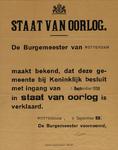 IA-1939-0008 Openbare bekendmaking van de Burgemeester. Afkondiging Staat van Oorlog. 1 september 1939.