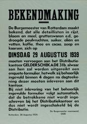 IA-1939-0012 Bekendmaking van de burgemeester. Enquête Distributie levensmiddelen.