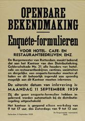 IA-1939-0014 Bekendmaking burgemeester. Enquêteformulieren voor hotel-, café- en restaurantbedrijven. Distributie.