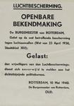 IA-1940-0003 Luchtbescherming. Openbare bekendmaking van de Burgemeester. 10 Mei.
