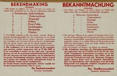 IA-1940-0004 Bekendmaking van de stadscommandant betreffende het bezit van wapens, het autoverkeer en de meldingsplicht ...