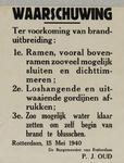 IA-1940-0005 Waarschuwing van de Burgemeester ter voorkoming van branduitbreiding. 15 Mei.