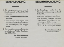 IA-1940-0010 Bekendmaking van de stadscommandant inzake het verkeer over de Maasbruggen op 17 en 18 Mei.