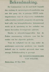 IA-1940-0012 Bekendmaking van de hoofdcommissaris van politie in zake toelatingsbewijzen voor de afgezette stadsdelen. ...