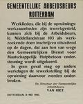 IA-1940-0016 Gemeentelijke Arbeidsbeurs Rotterdam . Inschrijving van werklieden die bij de opruimingswerkzaamheden ...