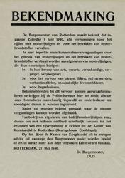 IA-1940-0023 Bekendmaking van de Burgemeester in zake vergunningen voor het rijden met motorrijtuigen. 27 Mei.