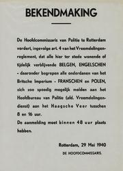 IA-1940-0026 Bekendmaking van de hoofdcommisaris van politie inzake de meldingsplicht van vreemdelingen. 29 Mei.