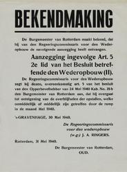 IA-1940-0027 Bekendmaking van de burgemeester in zake het besluit beteffende de wederopbouw art. 5. 31 Mei.