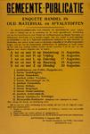 IA-1940-0035 Gemeente-Publicatie. Enquête handel in oud materiaal en afvalstoffen. 13 Augustus.